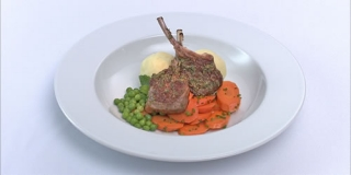 Lamb chops, mashed potato and vegetables