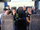 All aboard the bus - back row seats - John Wynyard, Charles Trousdale, Christine Ramsay, Andrew &amp; Louise Christey, Scott Innes