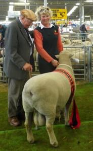 Christina & Bill Jordan with their Supreme Champion Meat Breed ram