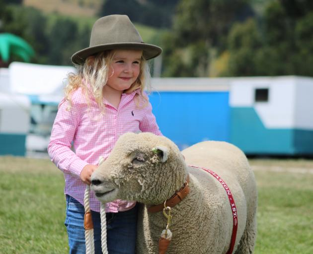 Charlee Hazlett, of Hokonui, won best large pet with her Southdown sheep Ellavetta at the Palmerston Waihemo A&P Show on Saturday